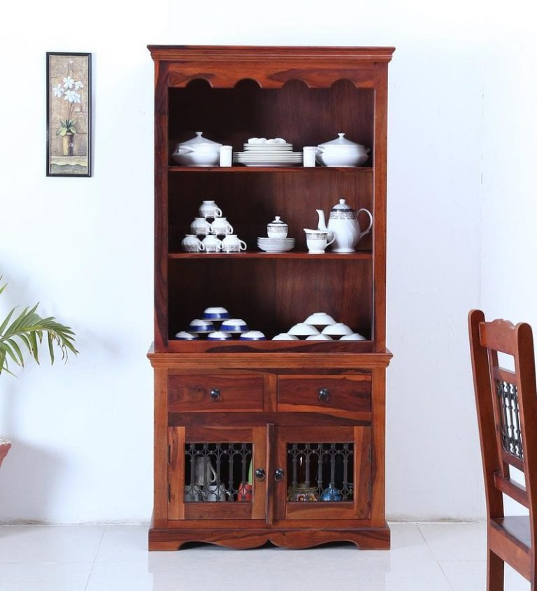 Pepperfry : Stafford Solid Wood Hutch Cabinet in Honey Oak Finish by Amberville at Rs.27499