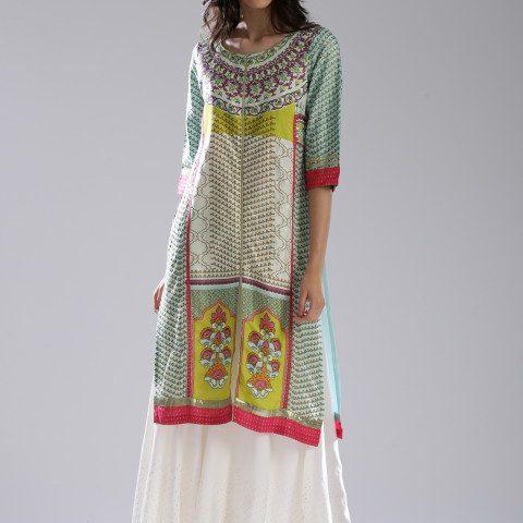Myntra : W Women Blue & Off-White Printed Straight Kurta at Rs.949