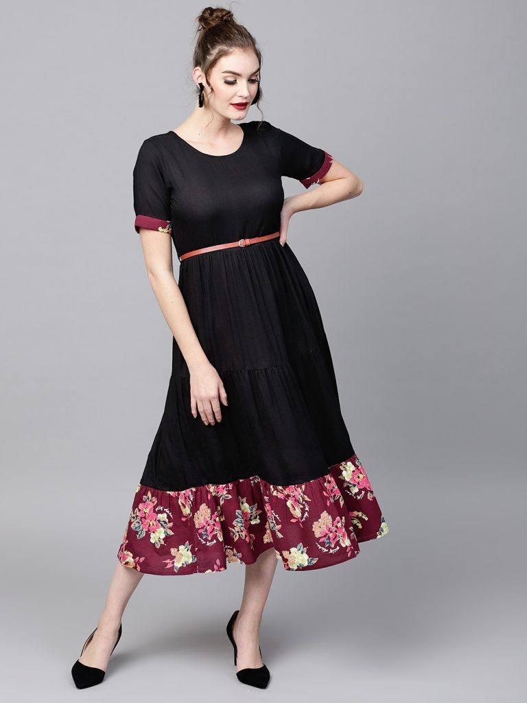 Myntra : SASSAFRAS Women Black Solid Layered A-Line Dress at Rs.1899