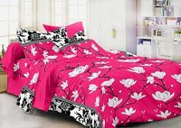 Amazon India : Homefab India 3D 140 TC Polycotton Double Bedsheet with 2 Pillow Covers - Floral, Pink at Rs.283