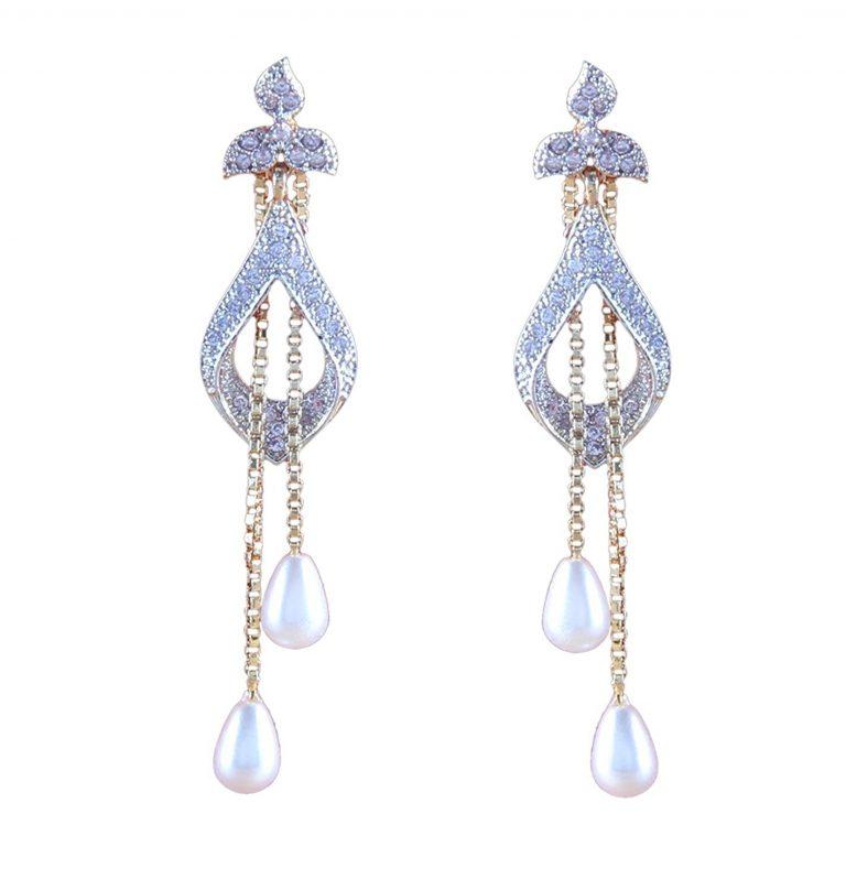 Amazon India : Sitashi White Ad American Diamond Pearl Dangle & Drop Earring at Rs.323