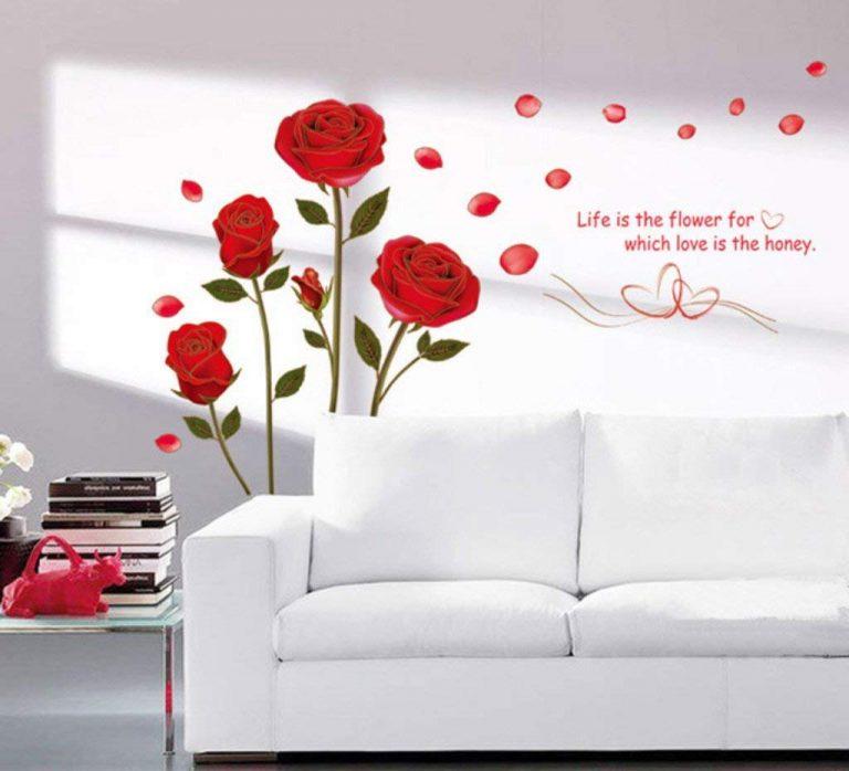 Amazon India : Decals Design 'Romantic Rose Flowers' Wall Sticker (PVC Vinyl, 50 cm x 70 cm),Multicolour at Rs.109