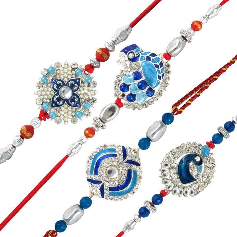 Amazon India : Mahi Combo of Blue Alloy Peacock Brass Rakhis for Men at Rs.464