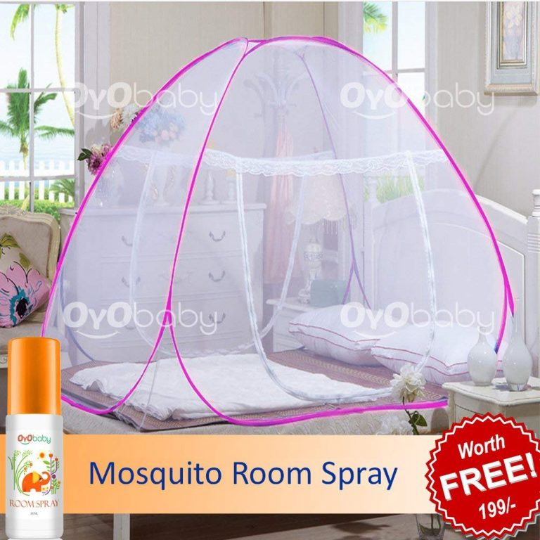 Amazon India : OYO BABY Foldable Double Bed Mosquito Net (Pink) at Rs.999