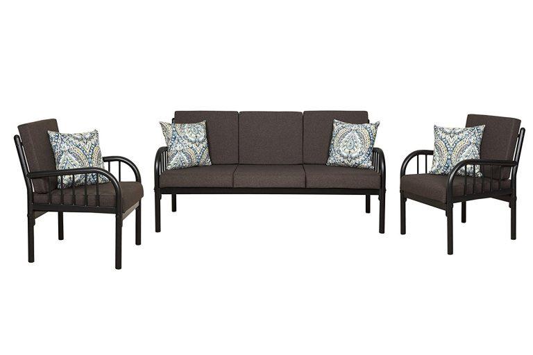 Amazon India : FurnitureKraft Clayton 3-1-1 Sofa Set with Mattress (Glossy Finish, Brown) at Rs.18099