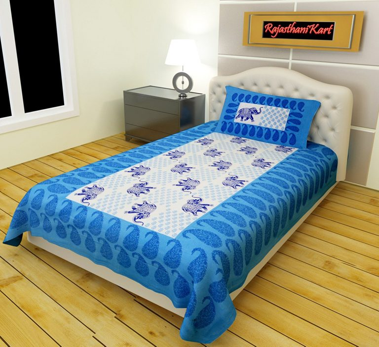 Amazon India : RajasthaniKart Classic 180 TC Cotton Single Bedsheet with Pillow Cover at Rs.246