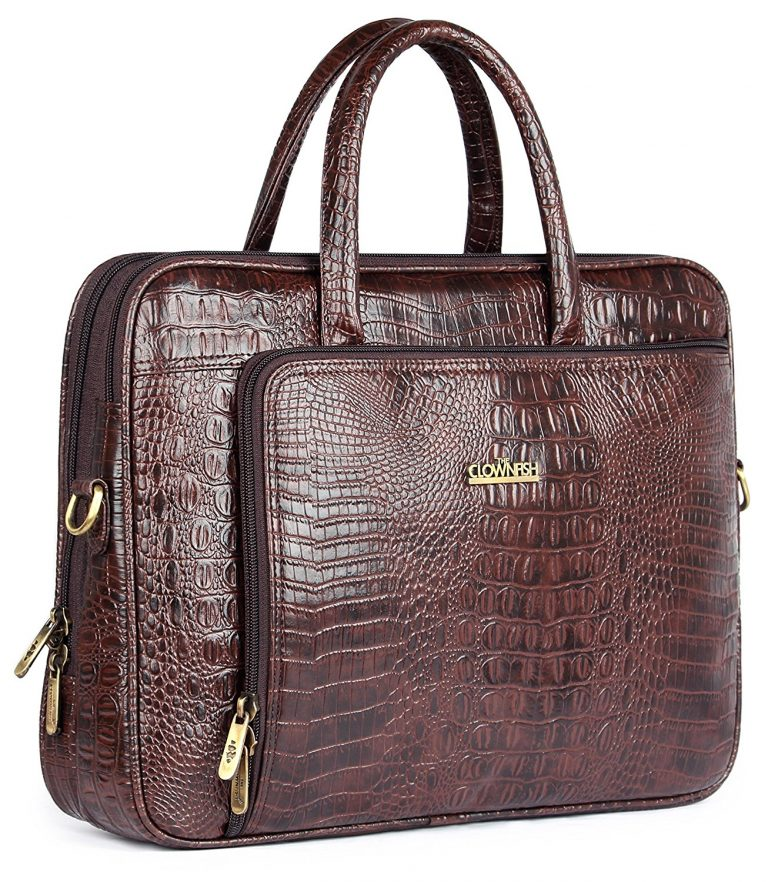 Amazon India : The Clownfish Leatherette 10 Ltr Brown Laptop Briefcase at Rs.1990