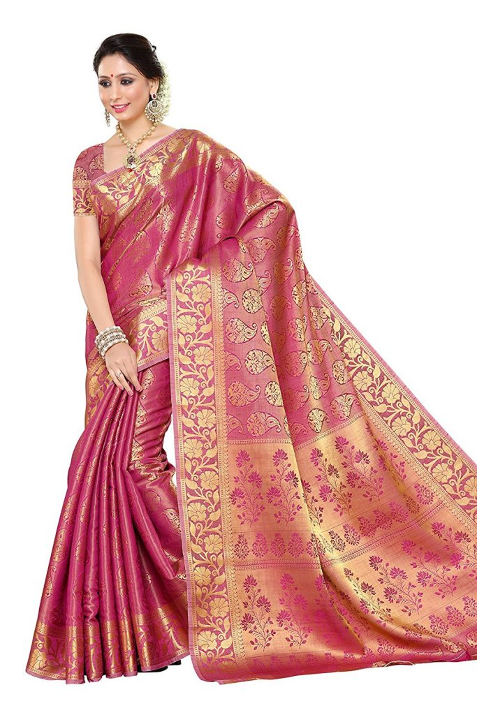 Amazon India : Mimosa Women'S Silk Saree With Blouse Piece at Rs.1599