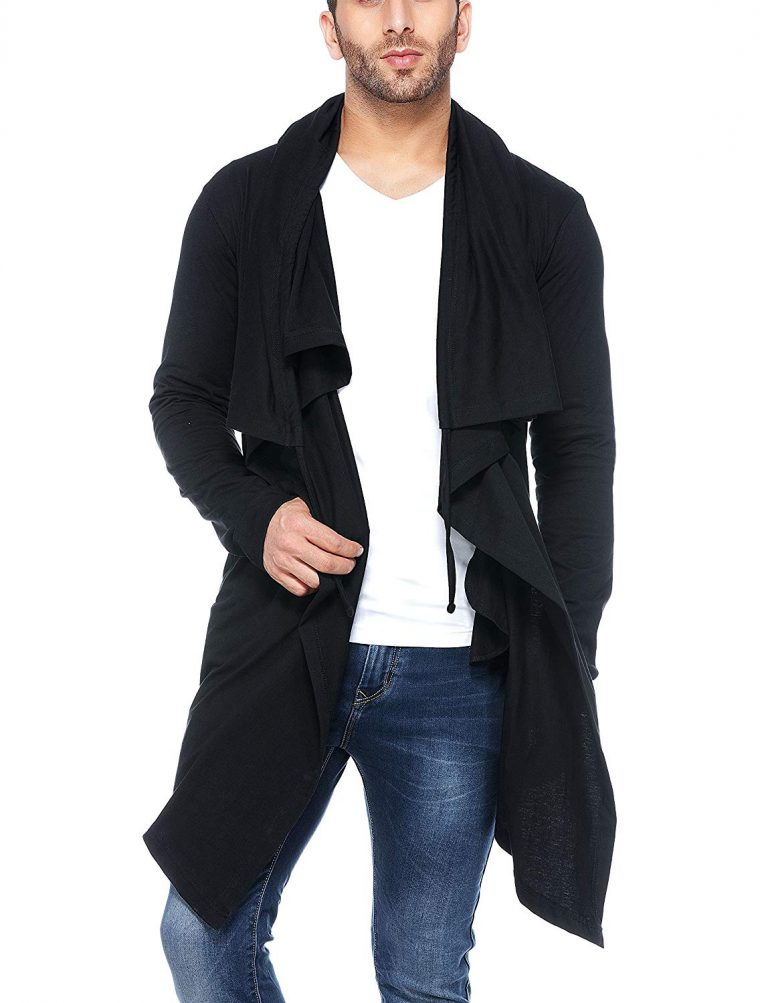 Amazon India : Tinted Men's Cotton Sinker Hooded Waterfall Full Sleeve Cardigan at Rs.837