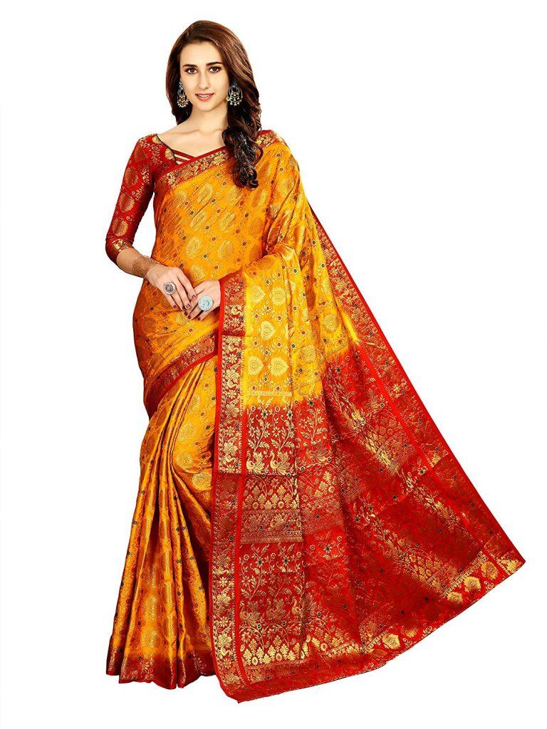 Amazon India : Art Decor Sarees Women's Banarasi Minakari Saree with Blouse Piece at Rs.1188