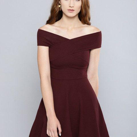Myntra : Veni Vidi Vici Women Maroon Solid Bardot Fit and Flare Dress at Rs.850