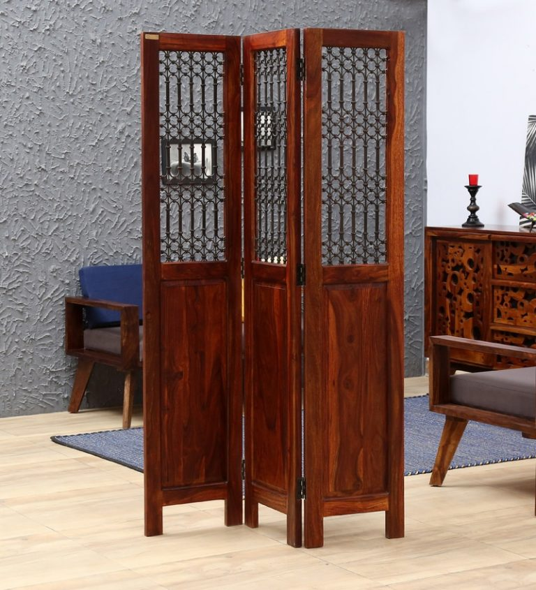Pepperfry : Stafford Solid Wood 3 Panel Room Divider in Honey Oak Finish by Amberville at Rs.24999