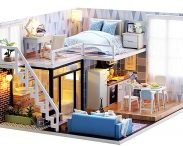 Amazon India : Webby Wooden DIY Modern Miniature Doll House with Lights, Multicolor at Rs.1499