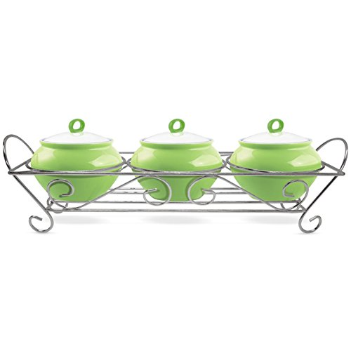 Amazon India : Treo Party Perfect Aroma Cass. 230 ML 3Pcs With Ceramic Lid And Stand - Green