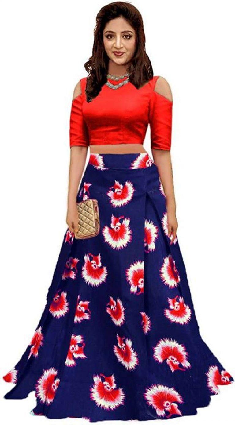 Amazon India : Bandidhari Fashion Banglori Satin Semi-stitched Lehenga Choli
