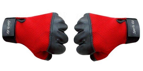 Amazon India : Sports 101 X-Treme Leather Gym Gloves, Adult Free Size (Red/Black)