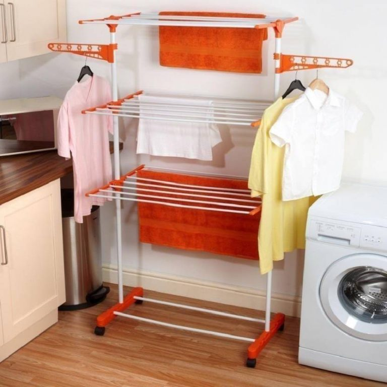 Flipkart : SHP TRUSTED singly pole clothes rack stand 3-tier Carbon Steel, Plastic Floor Cloth Dryer Stand  (Orange)