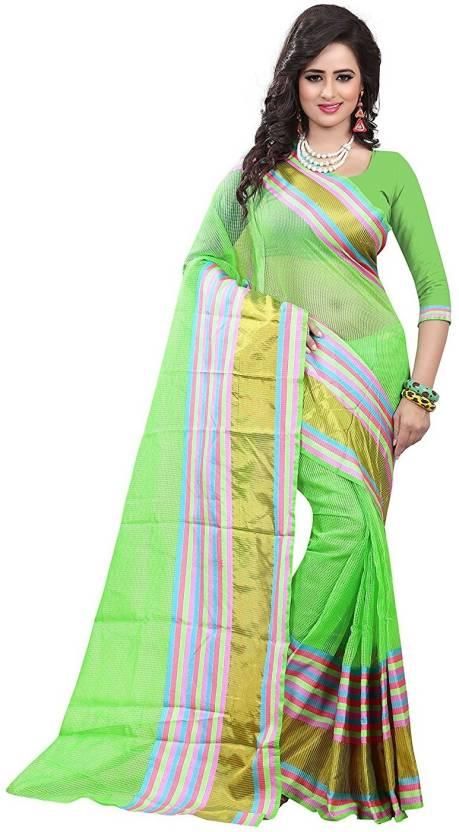 Flipkart : Fabpandora Striped Bollywood Polycotton Saree(Multicolor)