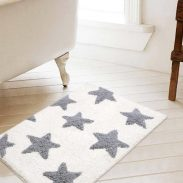 Pepperfry : Geometric Cotton 24 x 16 inches Soft Fast Water Absorbent Bath Mat