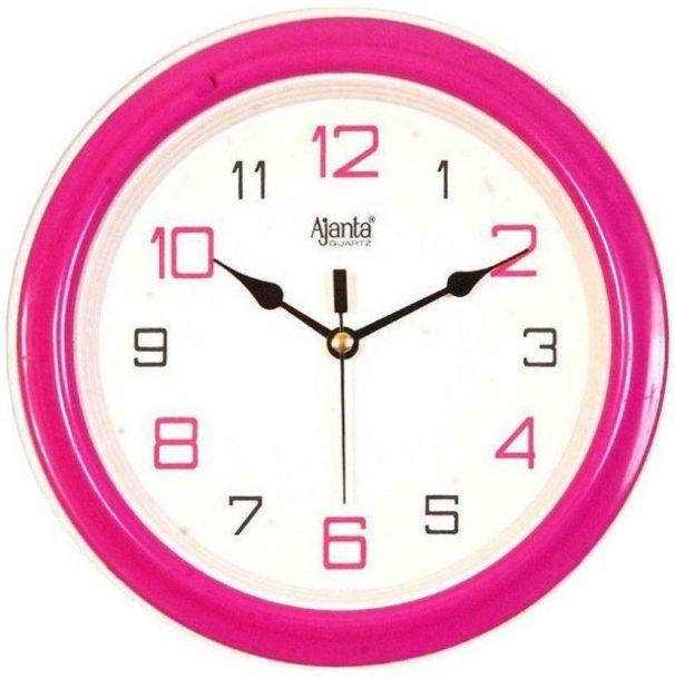Flipkart : Ajanta Analog 3.5 cm X 20.5 cm Wall Clock  (Pink, With Glass)
