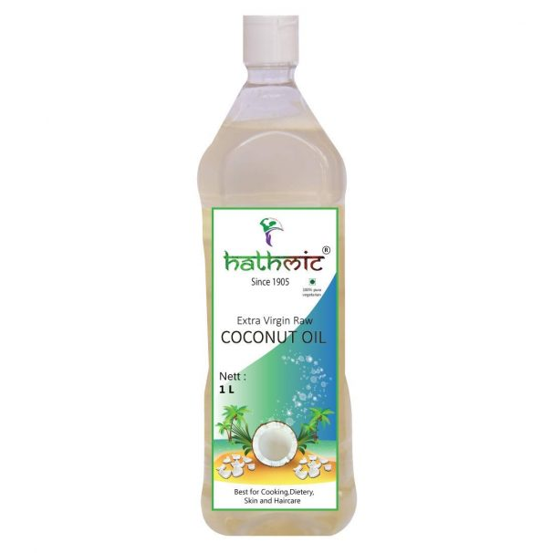 Amazon India : Hathmic Raw Extra Virgin Cold Pressed Coconut Oil, 1L Pet Can