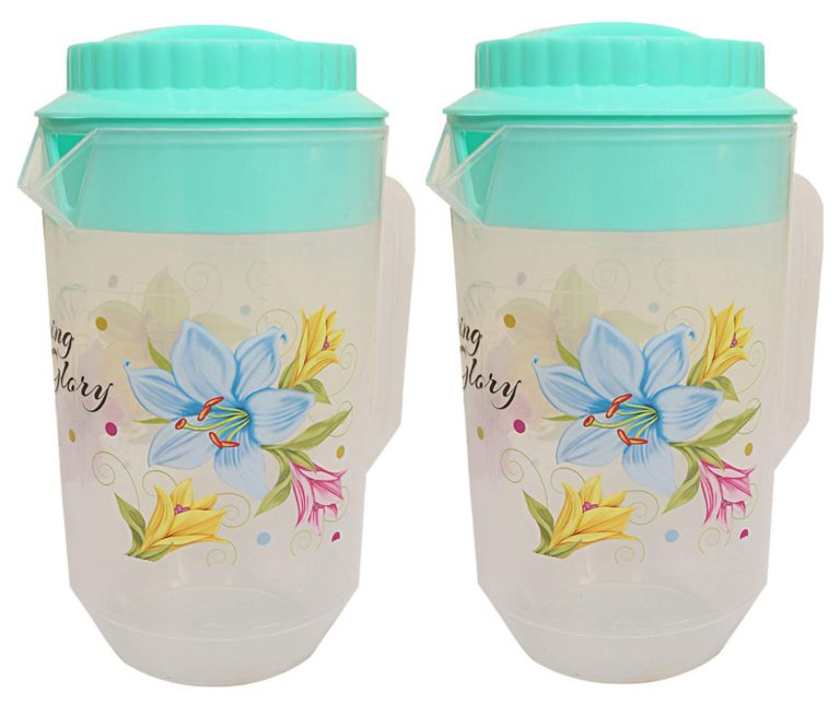 Amazon India : Kuber Industries Floral Design Plastic Water Jug, 2-Pieces, Green