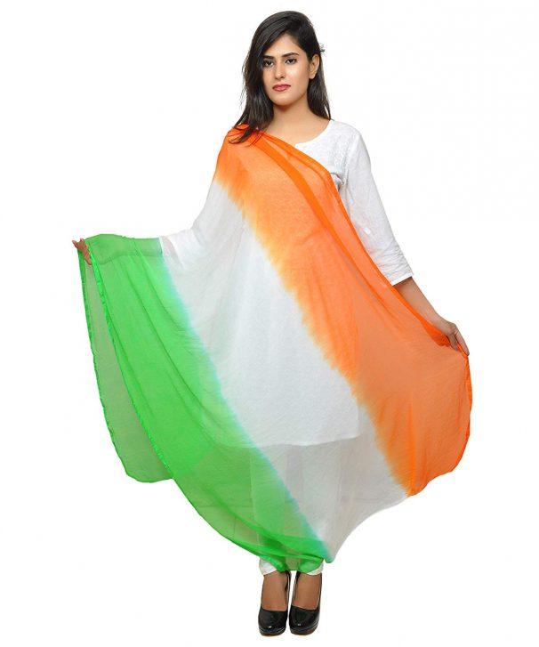 Amazon India : Banjara India Women's Soft Chiffon Solid Dupatta Tricolour - Tiranga