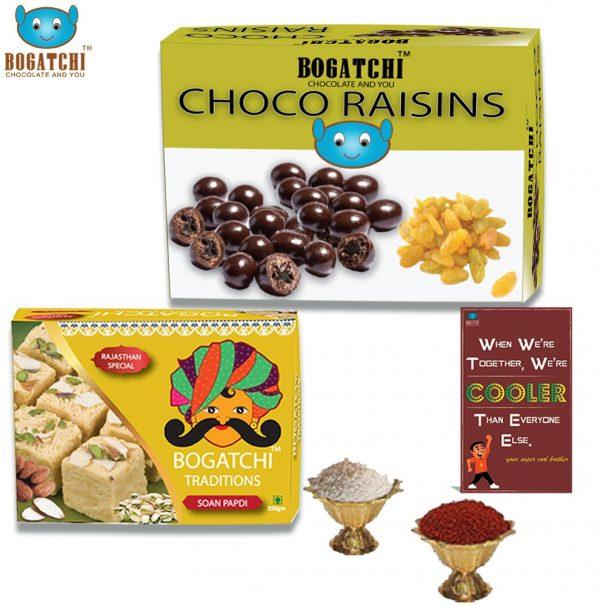Amazon India : Bogatchi Chocolate Coated Raisins, 100g with Premium Rajasthani Soan Papdi, 250g and Free Roli Chawal and Greeting Card, 350g