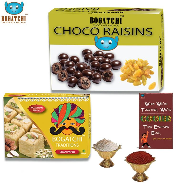 Amazon India : Bogatchi Chocolate Coated Raisins, 100g with Premium Rajasthani Soan Papdi, 250g and Free Roli Chawal and Greeting Card, 350g