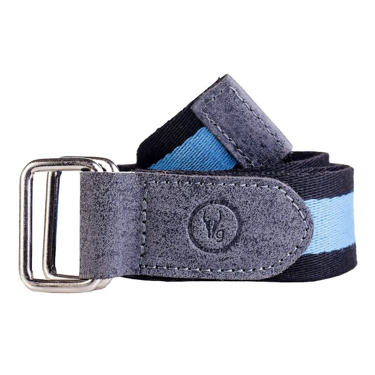 Amazon India : Hidegear Men Black-Blue Canvas Leather Belt