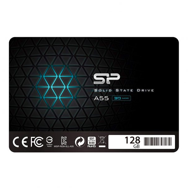 """Amazon India : Silicon Power 128GB SSD 3D NAND A55 SLC Cache Performance Boost SATA III 2.5"""" 7mm (0.28"""") Internal Solid State Drive"""