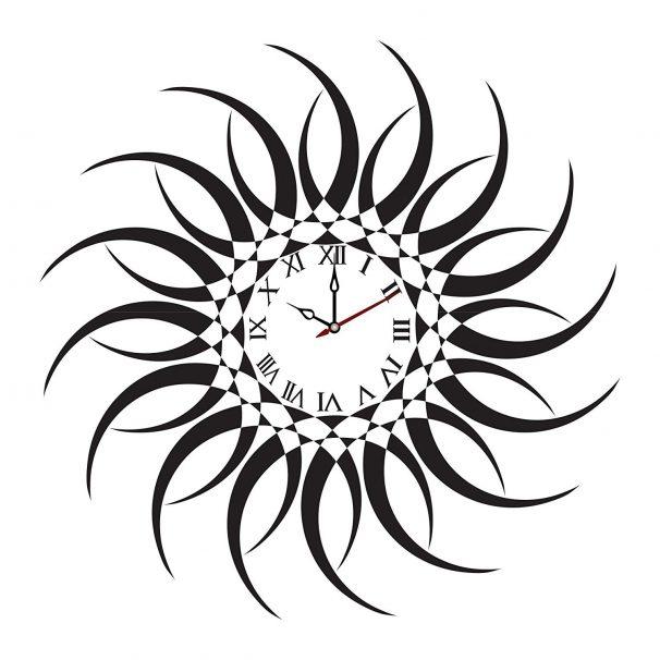 Amazon India : Syga Sun Design PVC Vinyl Wall Clock (35 cm x 17 cm x 5 cm, Black)