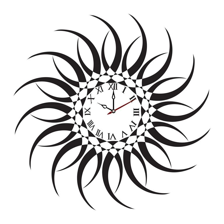 Amazon India : Syga Sun Design PVC Vinyl Wall Clock (35 cm x 17 cm x 5 cm, Black)