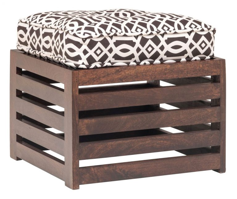 Amazon India : The Jaipur Living Repeat Large Stool (Honey Brown Finish, Brown)