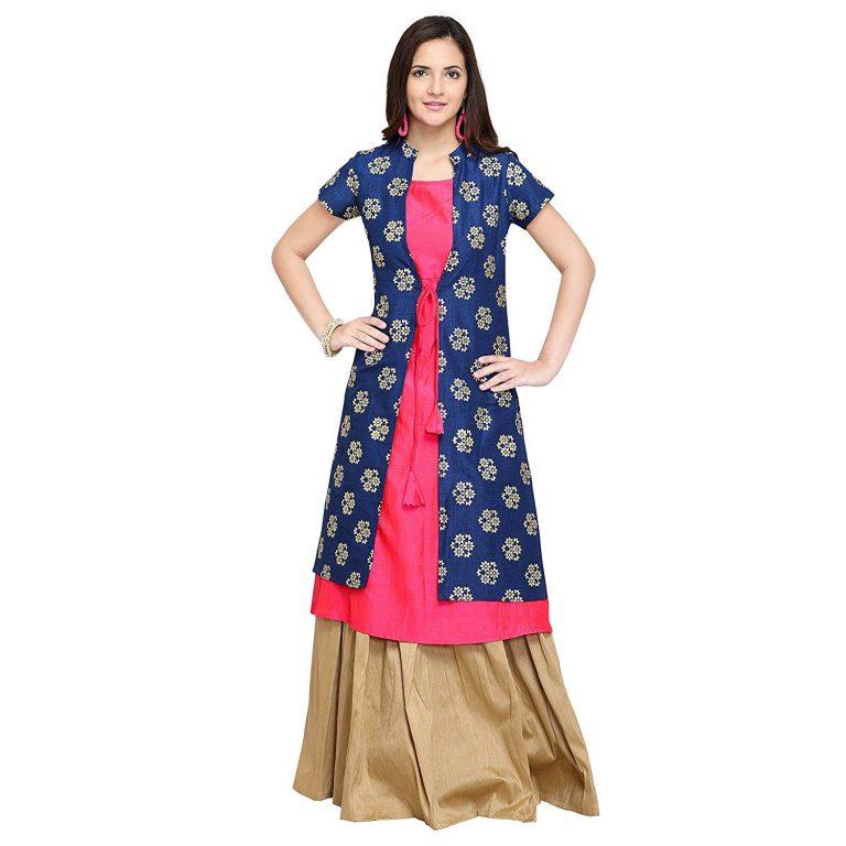 Amazon India : Oomph! A-line Silk Kurti Palazzo Set for Women - Pink_mk109set