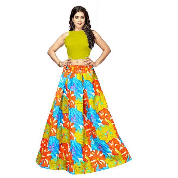 Amazon India : Lovely Fashion women's multi colour Semi Stitched Banglori Satin lehenga choli