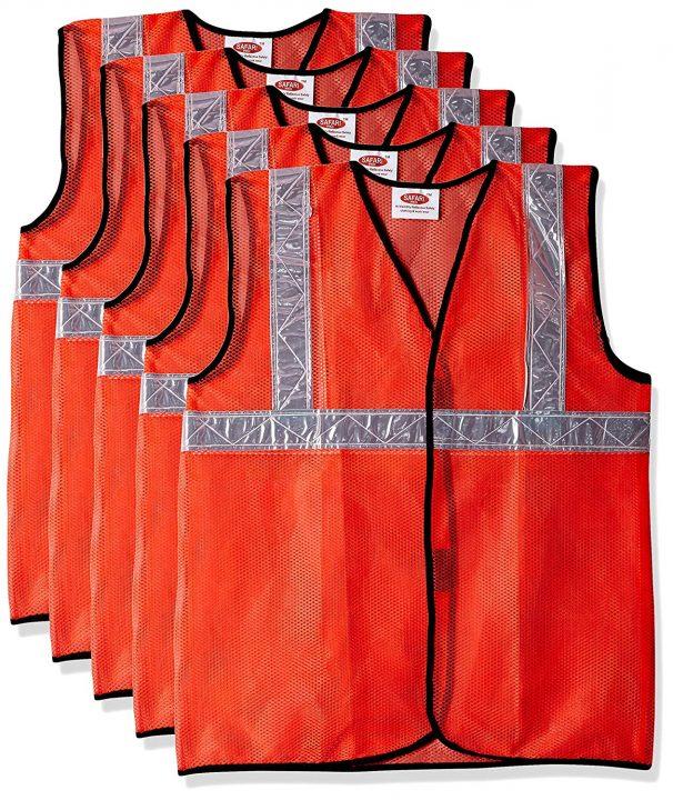 Amazon India : Safari Pro 2' Inch Reflective Safety Jacket, Orange, Mesh Type, Set of 5