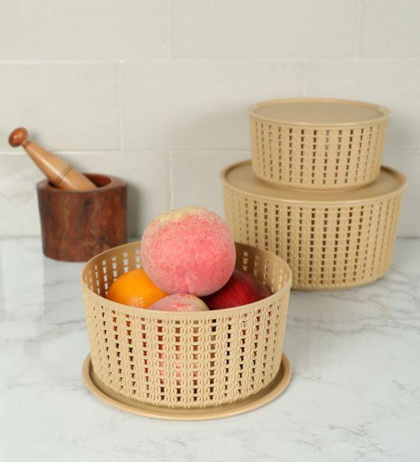 Pepperfry : Selvel Target Set of 3 Plastic Baskets