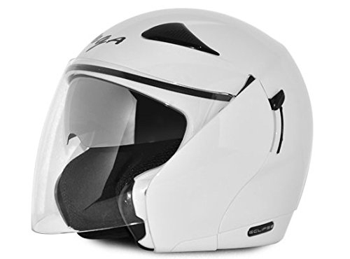Amazon India : Vega Eclipse ECL-W-M Open Face Helmet with Double Visor (White, M)