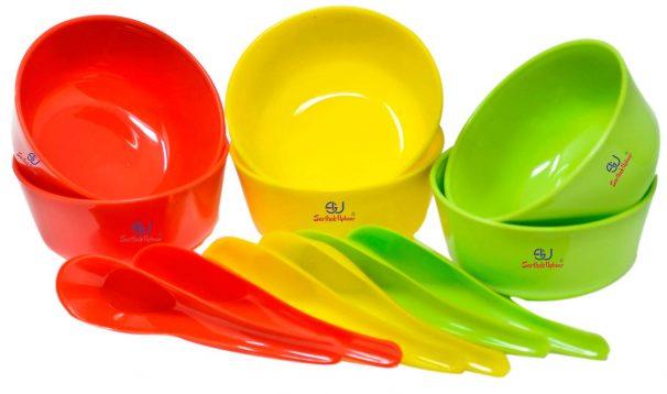 Amazon India : Sarthak Uphaar Plastic Microwave Safe Soup Bowl Set of 12 Pieces (6 Bowl, 6 Spoon)