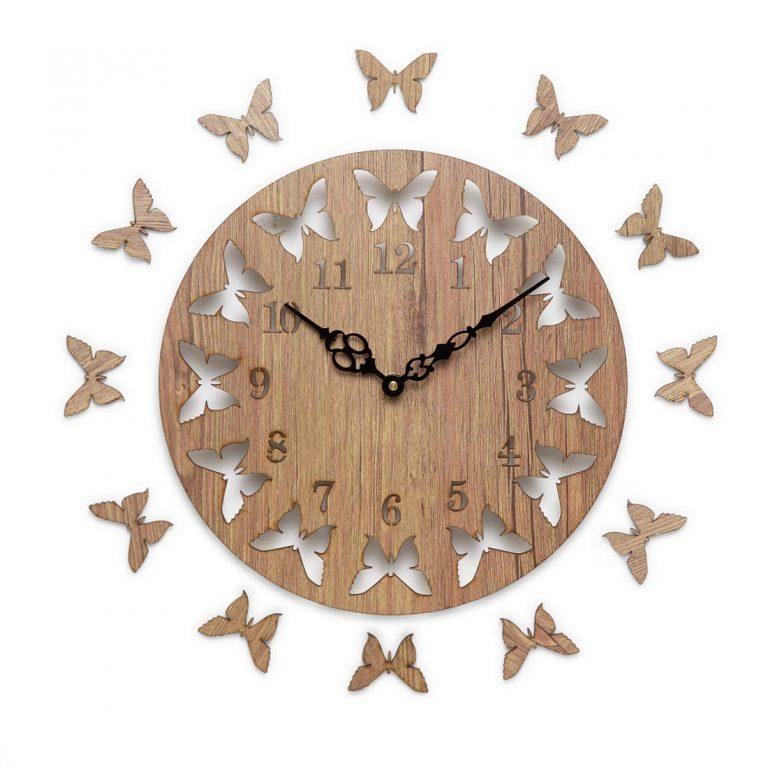 Amazon India : Sehaz Artworks Round Wooden Wall Clock (25.5 cm x 25.5 cm x 2.8 cm, Beige, SZA-PWC-12-Butterflies)
