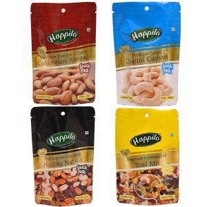 Amazon India : Happilo Premium Dry Fruits Combo, 280g (Salted Almonds, Salted Cashews, Nutmix, Trail Mix)