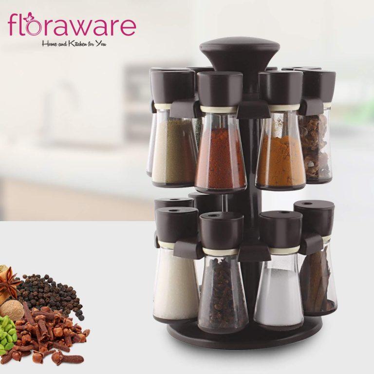 Amazon India : Floraware Plastic Revolving Spice Rack Set, 120ml, Set of 16, Brown