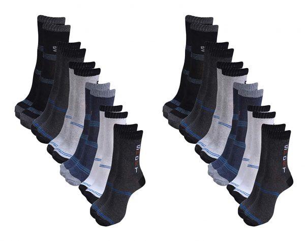 Amazon India : Zacharias Men's Poly Cotton Socks (Pack of 12, Multi-Coloured)