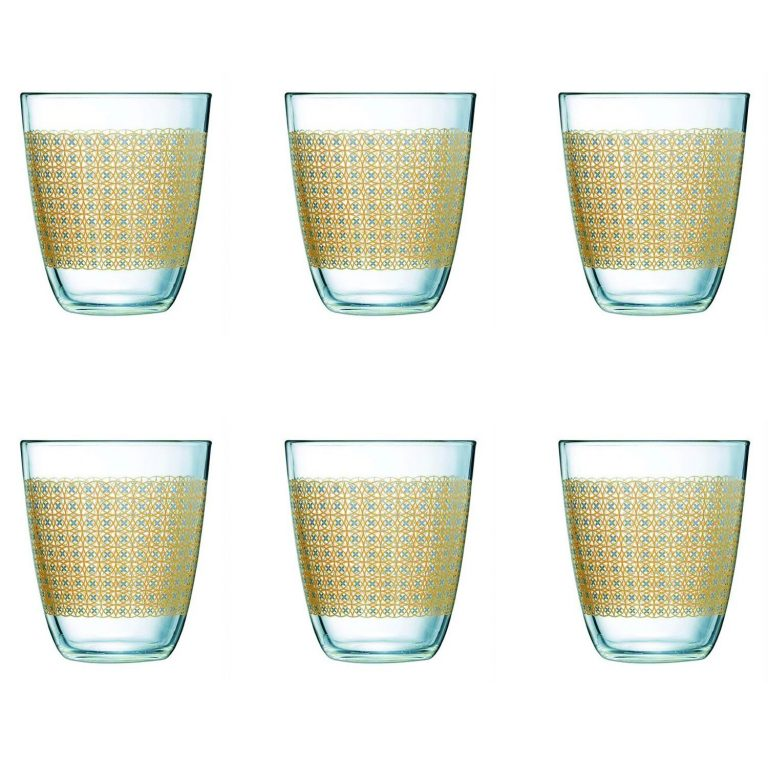 Amazon India : Luminarc Neo Galaxy Highball Tumbler Set, 310ml, Set of 6, Gold