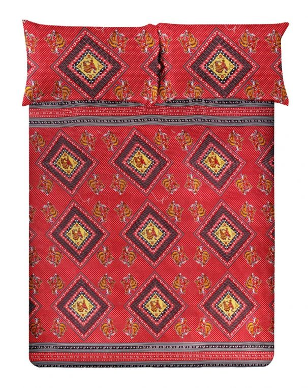 Amazon India : Super India Printed 130 TC Polycotton Double Bedsheet with 2 Pillow Covers - Maroon