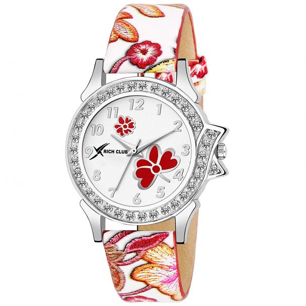 Amazon India : Rich Club Crystal Studded Analogue White Dial Women's Watch