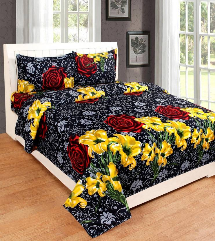 Flipkart : Red Bear 190 TC Cotton Double Floral Bedsheet  (Pack of 3, Multicolor)