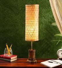 Pepperfry : Beige Bamboo Table Lamp by Kraftinn