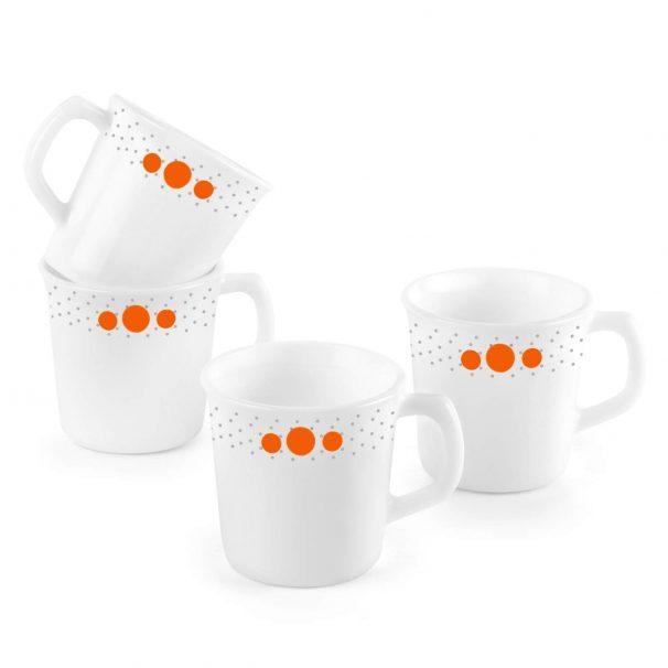 Amazon India : Cello Polka Drops Opalware Sisely Mug Set, 100 ml 4-Pieces, White